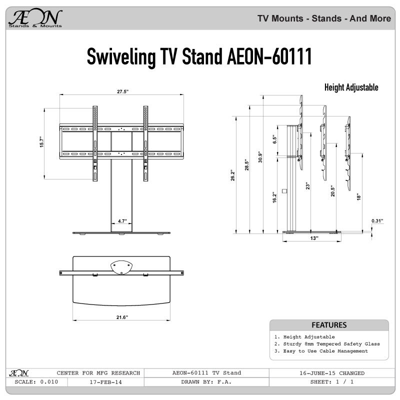 Aeon Universal Tv Stand For 32 42 60 Inch Led Lcd Samsung